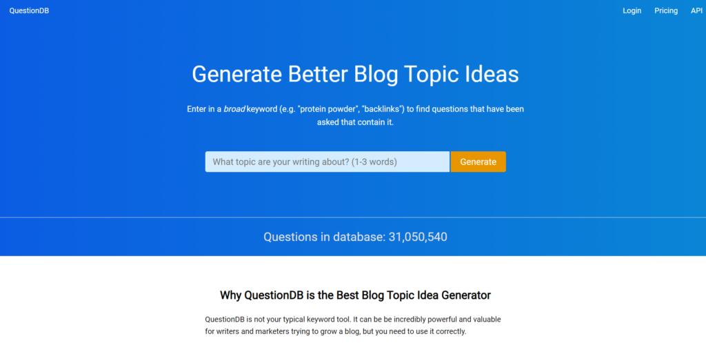 QuestionDB Free Keyword Research Tools